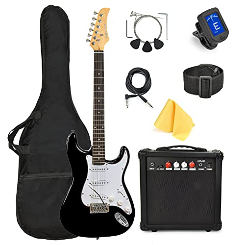 39 Inch Full Size Electric Guitar, With Complete Beginner Starter Kit, 20 Watt Amp, 6 Extra String, Picks, Gig Bag, Shoulder Strap, Digital tuner, Cable, Tremolo Bar, Wrenches, Wash Cloth