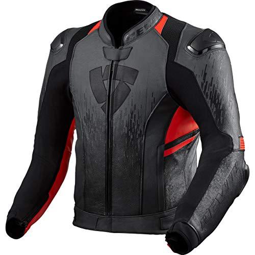 REV'IT! Kombijacke Lederkombi Motorradjacke m. Protektoren Quantum 2 Lederjacke anthrazit/neon-rot 54, Herren, Sportler, Ganzjährig
