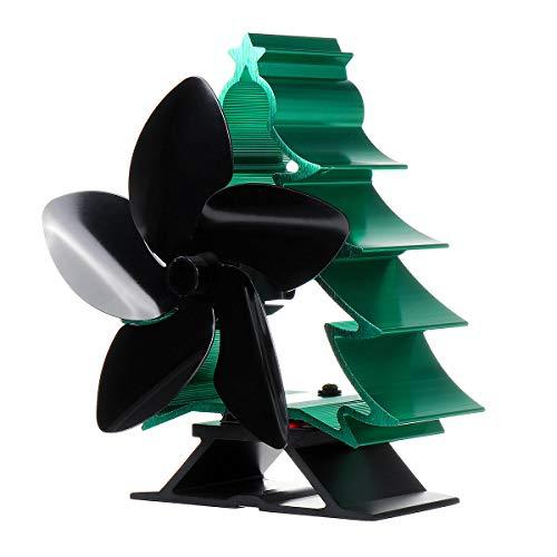 MING-MCZ Duradero 70 □ □ ~ 240 Estufa de Calor accionada Top 5 del Ventilador de la Hoja de Madera Estufa de leña ardiente de Navidad Fácil de Montar (Color : Black+Green)