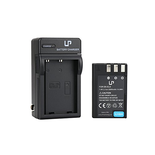 EN-EL9 Battery and Charger for Nikon D40, D40X, D60, D3000, D5000 Cameras | Rechargeable Li-Ion Battery | Replace Nikon EN-EL9 / EN-EL9a Battery and MH-23 Charger