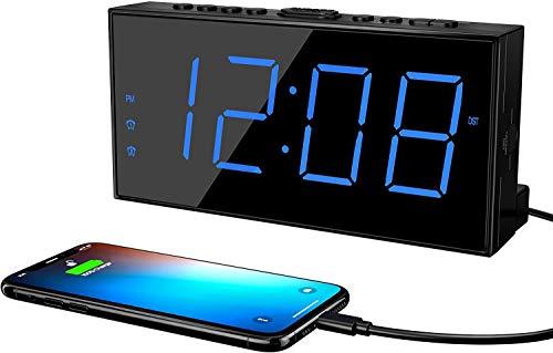 ROCAM Wecker Digitaler für Schlafzimmer, LED-Wecker mit Schlummerfunktion, 7 '' großes Display, Doppelalarm, USB-Ladegerät, 5 Helligkeit, 15 Stufen Alarmlautstärke, 12 / 24H DST - Blau