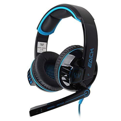 DBSCD Auriculares estéreo para Juegos Auriculares Diadema con Control de Volumen de micrófono Luz LED Deslumbrante para Juego de PC (Color: Azul)
