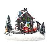 GDYJP Estatuillas de la Aldea de Navidad DIRIGIÓ Luces Pequeño Tren Casa de Pueblo de Navidad Luminoso Paisaje Figuras Resina Desktop Ornament