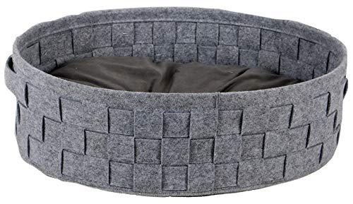 Bubimex Hundebett aus geflochtenem Filz, Grau, 55x43 cm