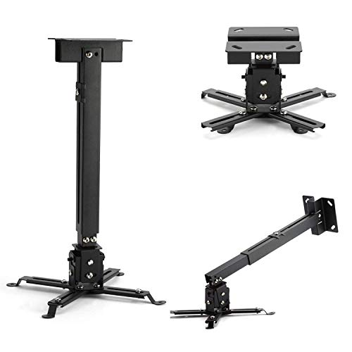 AlexVyan Black Imported Certified Heavy Duty 2 Feet Foot (12 inch to 24 inch) Adjustable Projector Ceiling and Wall Mount Kit Bracket Stand with Tilt Option (Weight Capacity - 15kgs)