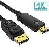 【改善版】Syncwire DisplayPort HDMI変換 ケーブル 1.5M【最大36か月保証付 / 4K解像度対応 4K@30Hz】 DP to HDMI 変換 ケーブル 音声対応 金メッキ