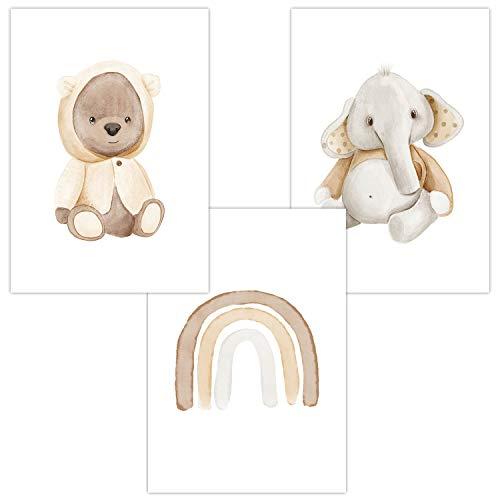 Wandbilder 3er Set für Baby & Kinderzimmer Deko Poster | Kunstdruck DIN A4 ohne Rahmen und Dekoration (Junge/Mädchen) (W21 Teddy Regenbogen Elefant)