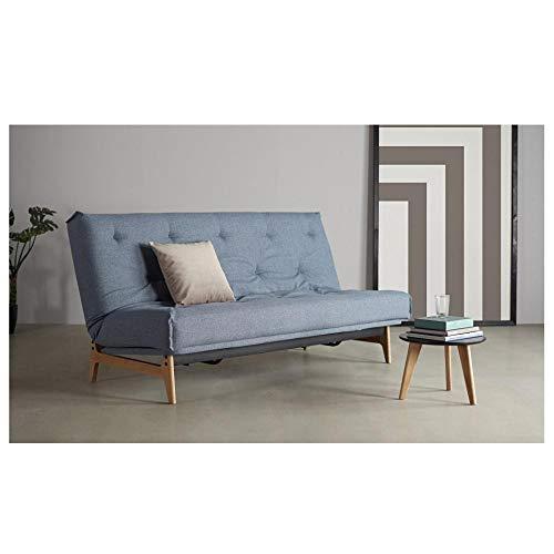 INNOVATION LIVING Canapé Convertible Design ASLAK lit 140 * 200 cm capitonné Tissu Mixed Dance Light Blue