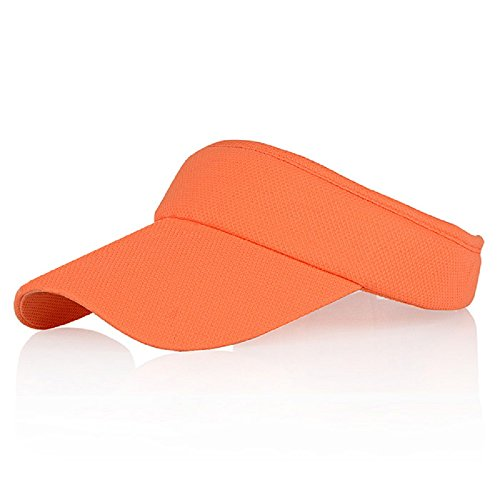 Orange Sun Visors for Girls and Women, Long Brim Thicker Sweatband Adjustable Hat for Golf Cycling Fishing Tennis Running Jogging Sports