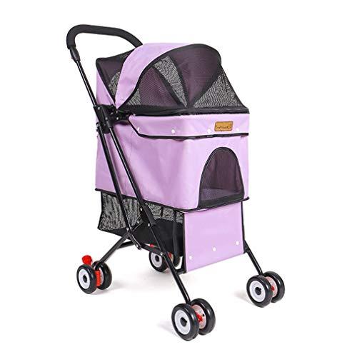 Amberzcy Pet car New Dog Pram Pet Dog Cat Animal Stroller Dog Buggy For Traveling Travel Vet Pet transporter (Color : Purple)