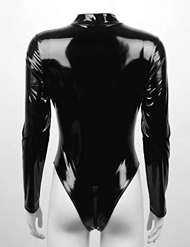 dPois Woman Wet Look High Cut One Piece Long Sleeve Zipper Leotard Front Cutout Bodysuit