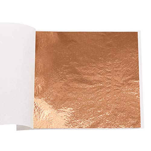 """VGSEBA Imitation Gold Leaf Sheets 100 Pieces Rose-Gold Metal Papers for Gilding Crafts, Furniture Decorations, Nail Decoration, 3.15"""" x 3.35"""" Loose Package (Rose Gold)"""
