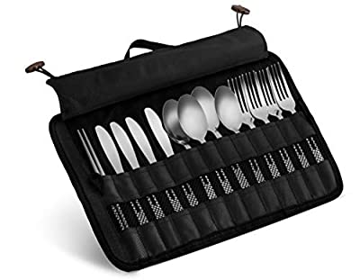 13 Piece Stainless Steel Family Cutlery Picnic Utensil Set with Travel Case for Camping   Hiking   BBQs - Includes Forks   Spoons   Knifes   Chopstick, Plus Nylon Commuter Case (Black)