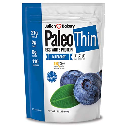 Paleo Thin Protein Powder (Blueberry Tart) (30 Servings) 2 lbs Monk Fruit Sweetened (Egg White)