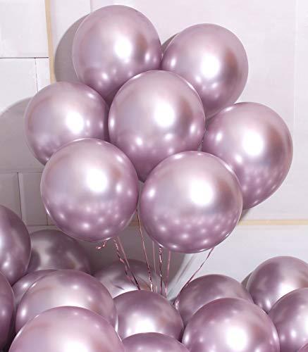 AULE Metallic Light Purple Latex Balloons 50 Pcs 12 inch Chrome Lavender Balloons Lilac Helium Balloons Happy Birthday Graduation Gender Reveal Party Decoration
