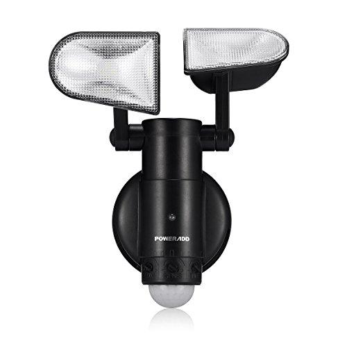 POWERADD LED Außenleuchte Außenlampe mit Bewegungsmelder und Dämmerungssensor, Wasserdicht IP44, Wandleuchte schwenkbar für Außenwand Terrasse Hausflur Treppen Balkon