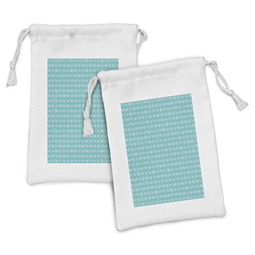Lunarable Chicken Fabric Pouch Set of 2, Repetitive Poultry Animals Farmhouse Life Countryside Monochrome Pattern, Small Drawstring Bag for Toiletries Masks and Favors, 9' x 6', Pale Blue and Seafoam