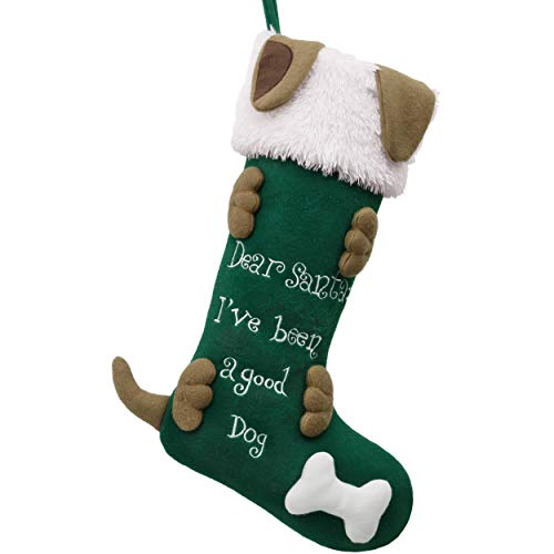 Valery Madelyn 21 inch Joyful Pet Christmas Stockings Personalized 3D Dog Stockings with Faux Fur Cuff (Pet Collection)