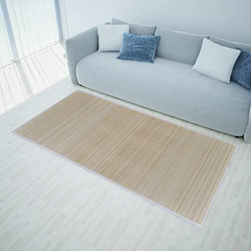 UnfadeMemory Alfombra de Bambú con Respaldo Antideslizante,Alfombra para Salón Habitación Dormitorio,Bordes de Polipropileno (160x230cm, Natural)
