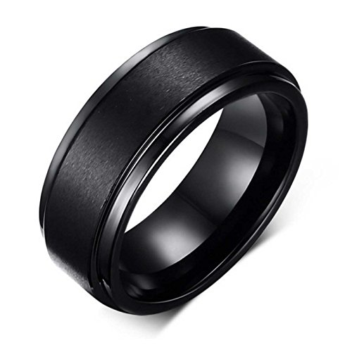 LAMUCH Men's 8MM Wide Simple Black Pure Tungsten Steel Ring SizeZ+1