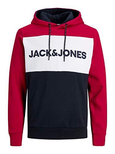 JACK & JONES Herren Jjelogo Blocking Sweat Hood Sts Kapuzenpullover, Tango Red, XL EU