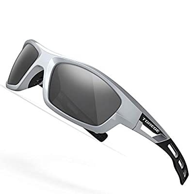 TOREGE Polarized Sports Sunglasses for Man Women Cycling Running Fishing Golf TR90 Unbreakable Frame TR07 Steath Man (Sliver&Black&Grey Lens)