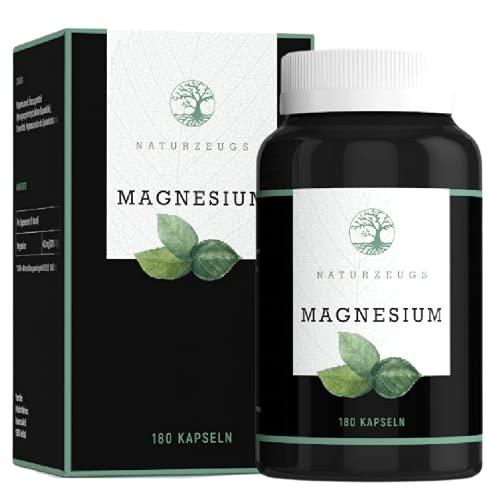 Magnesium von Naturzeugs | VEGAN | Hochdosiert mit 400mg Magnesium pro Tag | 180 Kapseln für 6 Monate | Made in Germany | Laborgeprüft | Gluten-frei Laktose-frei & GMO-frei