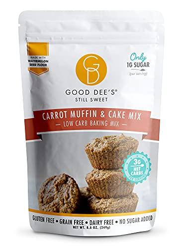 Good Dee's Carrot Muffin & Cake Mix   Keto Baking Mix   Sugar-Free, Gluten-Free, Dairy-Free, Low Carb Cake Mix   Diabetic, Atkins & WW Friendly (3g Net Carbs, 12 Serving)