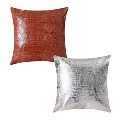 QXbecky Fundas de Cojines Funda de Almohada Cuadrada con patrón de cocodrilo de Color de Cuero PU de Estilo Minimalista Moderno sin núcleo 1,2 Piezas Funda de Almohada Decorativa para sofá