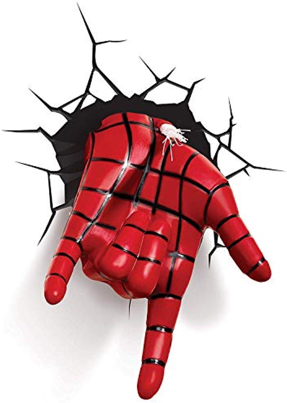 BLL Kinderzimmer dekorative Wandleuchte, Rcher Liga Spider-Man-Hand, Crack Wandaufkleber LED-Leuchten