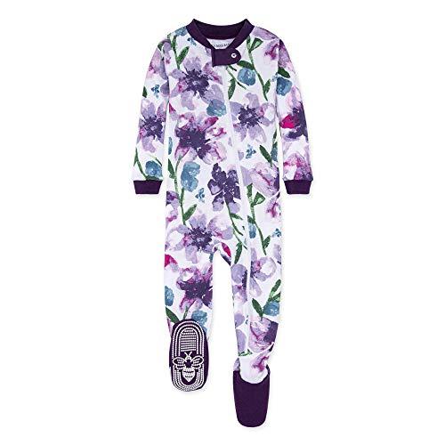 Burt's Bees Baby Baby Girls Sleeper Pajamas, Zip Front Non-Slip Footed Sleeper PJs, 100% Organic Cotton