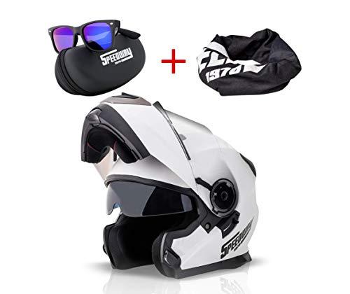 Casco Moto Modular SPEEDWAY con ECE y DOT Homologado - OSMA Casco de Moto Scooter para Mujer Hombre Adultos con Doble Visera -Negro Mate y Blanco (M, BLANCO)