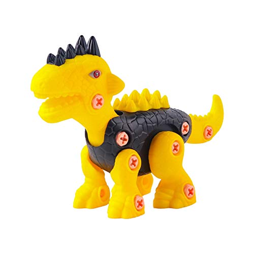 Mingbai Take Apart Dinosaur for Kids, DIY Dinosaur Toy, with Electric Drill, Building Toy Set with Electric Drill,Construction Engineering Play Kit, for Boy Girl Construction Set Xmas Gift (Yellow)