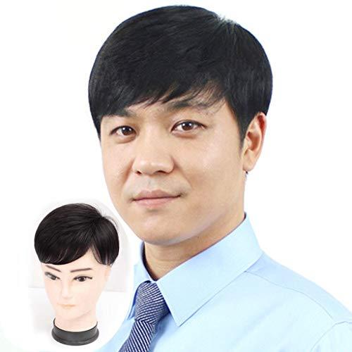 Extensions de cheveux humains courts et raides - Système de remplacement à clip - Pour homme - Perte de cheveux - Motif calvitie