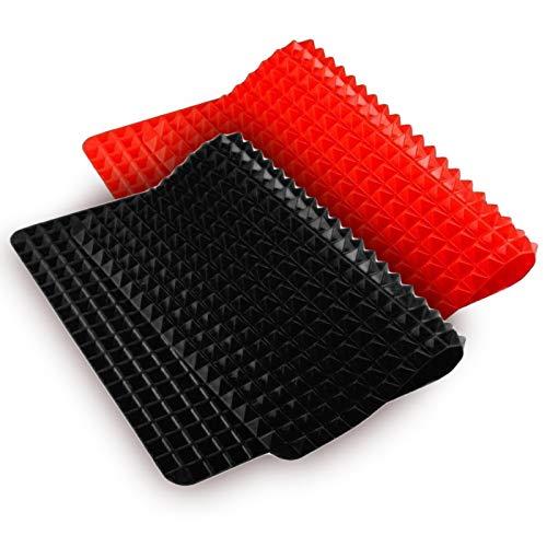 Gresunny 2PCS Tapete de Silicona para Hornear Alfombrillas Estera para Hornear Antiadherente Pirámide Pan Reductor de Grasa Esteras de Cocina Bandejas para Hornear Hojas de Molde Rojo y Negro