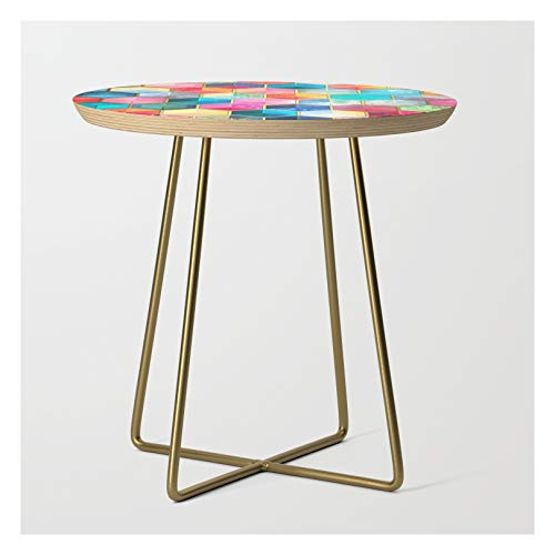 Side Table - Gold - Round - Crystal Bohemian Honeycomb Cubes - Colorful Hexagon Pattern by Micklyn