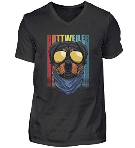 Rottweiler - Camiseta retro con cuello en V, para amantes de los perros, gafas de sol, cuello en V Negro XXL
