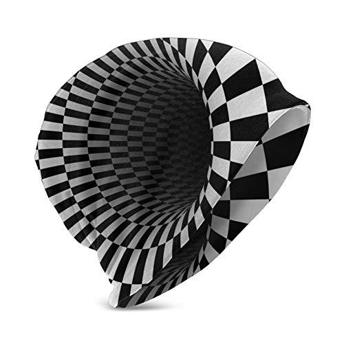 DOWNN Gorro para niños con patrón 3D redondo, color negro y blanco, a cuadros, cómodo, suave, unisex, universal, para invierno, para escalada, motociclismo, al aire libre, para niños y niñas