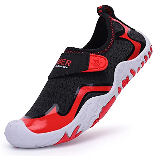 Acfoda Zapatos descalzos para niños, transpirables, antideslizantes, de secado rápido, tallas 26-36, color Negro, talla 28 EU