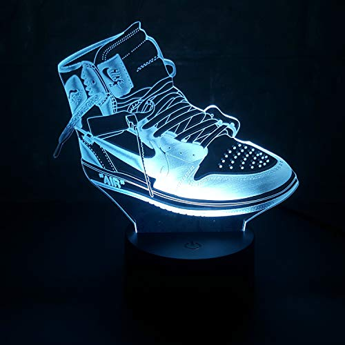 Sneakers 3D Lamp Table NightLight 7 Color Change Running Shoes LED Desk Light Touch Multicolored USB Power As Home Decoration Lights Tractor for Boys Kids (Touch) (Air Jordan 1 Off White)