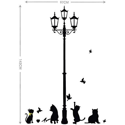 BLOUR Lámpara Negra Antigua Calle Gatos pájaros Pegatina de Pared Vinilo Arte Mural decoración del hogar Sala de Estar niños Dormitorio decoración calcomanías Carteles