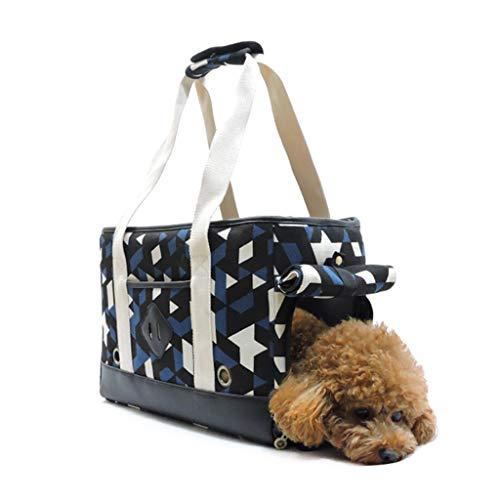 JXLBB blauwe witte zwarte schoudertas canvas ademende driehoek draagbare huisdier tas geschikt voor kleine honden en katten