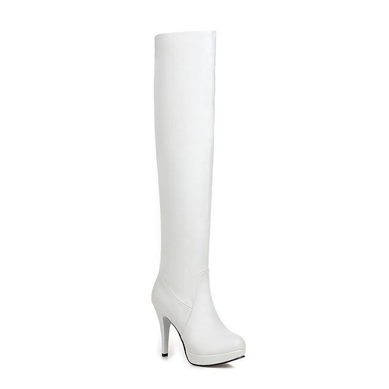 青写真民間人他の日A&N 女性 プラットフォーム ラウンドトゥ ピンヒール ホワイト Puの皮 ブーツ?ブーティ - 24.5cm