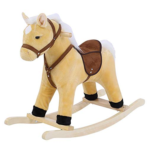 EBTOOLS Wooden Rocking Horse Toy, Comfortable Padding, Rocking Toy for Children Baby Rocking Horse Chair Cute Rocking Seat Indoor/Outdoor brown