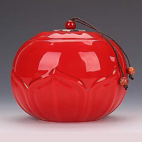 Tarro de regalo Tapas selladas de carrito de té Lotus en forma de esmaltado Celadon artesanal de porcelana de almacenamiento té carrito de té de té Bote tres colores disponibles 9.8 * 13.8 Tamaño (Col