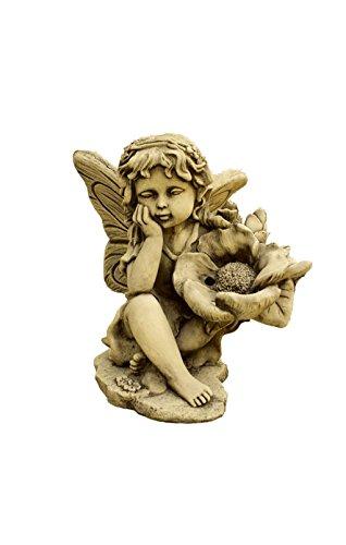 CATART Figura Decorativa Hada Pequeña en hormigón-Piedra para el jardín Exterior 35X40cm.