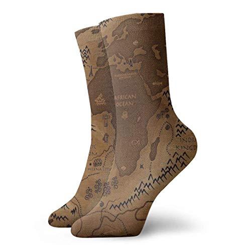 Tammy Jear Sea and Land Reverse Map Calcetines transpirables y cómodos, adecuados para todos los calcetines de temporada, calcetines de vestir