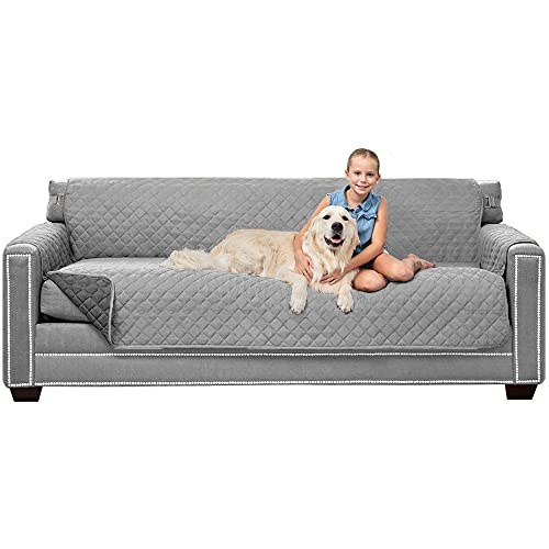 """Sofa Shield Patented Slipcover, Reversible Tear Resistant Soft Quilted Microfiber, XL 78"""" Seat Width, Durable Furniture Stain Protector with Straps, Washable Couch Cover for Dog, Kid, Lt Gray Charcoal"""