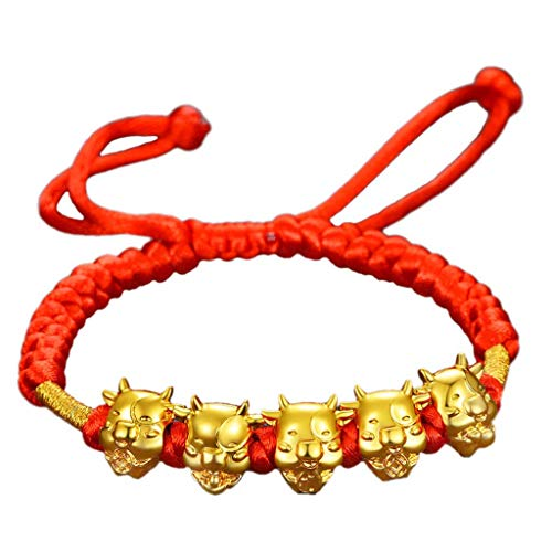 Mascot Five Fortunes Golden Cow Red String Bracelet 2021 Chinese Ox New Year Tradition Zodiac Lucky Blessing Bracelets.