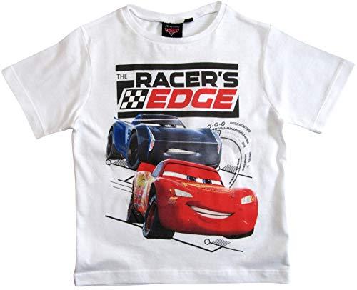Cars Disney 3 T-Shirt Kurz Lightning McQueen Jungen (Weiß, 98-104)